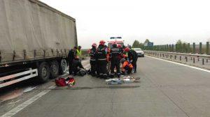 Şoferul a primit îngrijiri la locul accidentului
