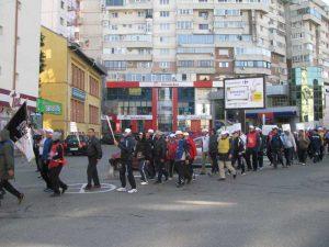 Protestatarii au trecut prin faţa Prefecturii...