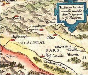 Piteştiul - pe harta întocmită la Viena, în anul 1566