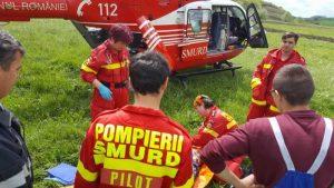 Echipajul elicopterului a preluat victima