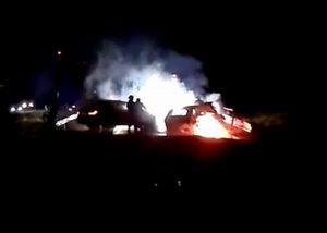 Maşini în flăcări la Merişani