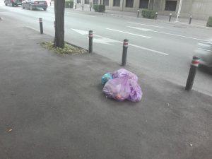 Au lăsat gunoiul pe trotuar...