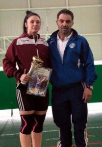 Maria Luana Grigoriu, alături de antrenorul ei de la Rapid, Marius Ulăreanu