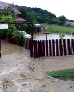 Pentru că este plin de deşeuri din construcţii - Pârâul Budeasa Mică a inundat curţile oamenilor